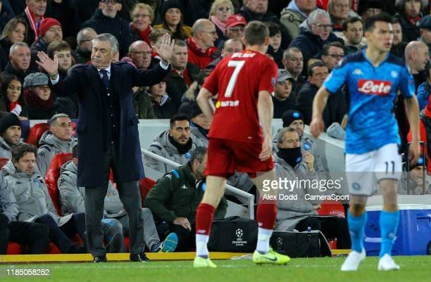 Napoli manager Carlo Ancelotti shouts instructions to his team from the technical areaduring the UEFA Champions League group E match between...