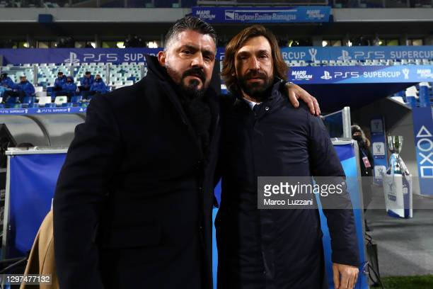 Napoli Manager, Gennaro Gattuso poses for a photo with Juventus Manager, Andrea Pirlo prior to the Italian PS5 Supercup match between Juventus and...