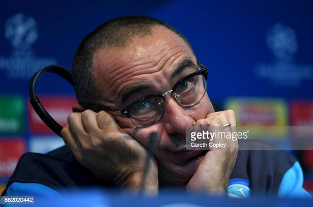Napoli manager Maurizio Sarri speaks to the media during a press conference at Etihad Stadium on October 16 2017 in Manchester England