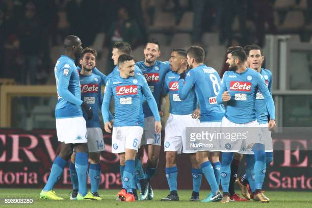Napoli midfielder Marek Hamsik celebrates with his teammates after scoring his goal after scoring his goal during the Serie A football match n17...