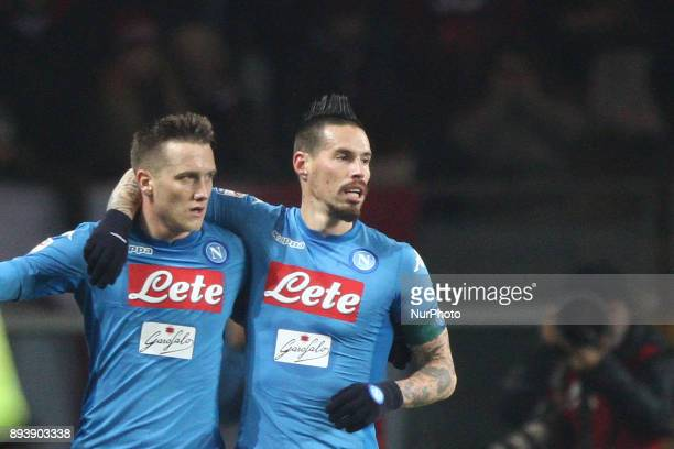 Napoli midfielder Piotr Zielinski celebrates with Napoli midfielder Marek Hamsik after scoring his goal during the Serie A football match n17 TORINO...