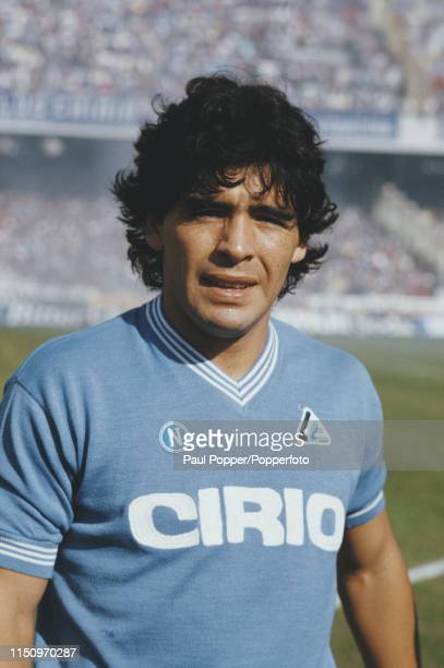 Napoli midfielder/forward Diego Maradona pictured during the 198485 Serie A match between Napoli and Sampdoria at Stadio San Paolo in Naples Italy on...