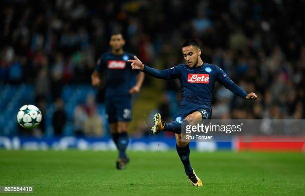 Napoli player Adam Ounas in action during the UEFA Champions League group F match between Manchester City and SSC Napoli at Etihad Stadium on October...