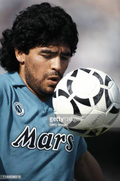 Napoli player Diego Maradona pictured controlling the ball during a Seria A match in 1989