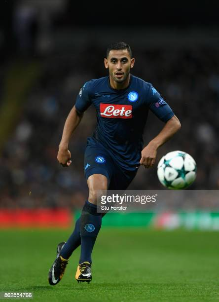 Napoli player Faouzi Ghoulam in action during the UEFA Champions League group F match between Manchester City and SSC Napoli at Etihad Stadium on...