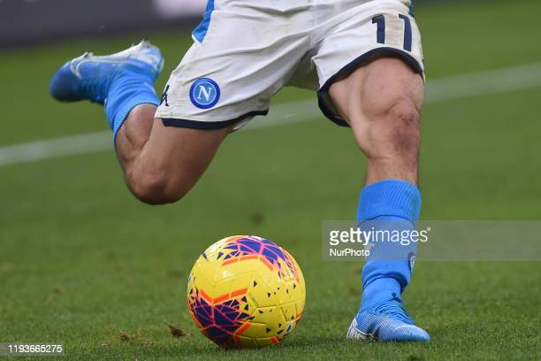 SSC Napoli player kicking the ball during the Tim Cup match between SSC Napoli and AC Perugia at Stadio San Paolo Naples Italy on 14 January 2020