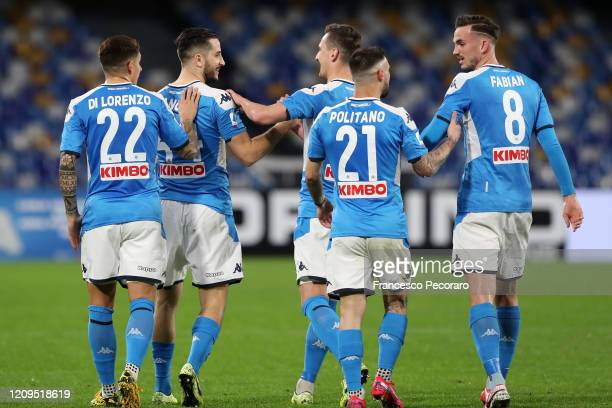 Napoli players celebrate after the 10 goal scored by Kostantinos Manolas during the Serie A match between SSC Napoli and Torino FC at Stadio San...