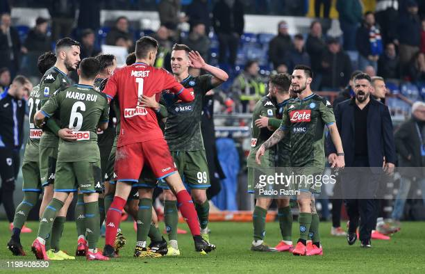 Napoli players celebrate at the end of Serie A match between UC Sampdoria and SSC Napoli at Stadio Luigi Ferraris on February 3 2020 in Genoa Italy