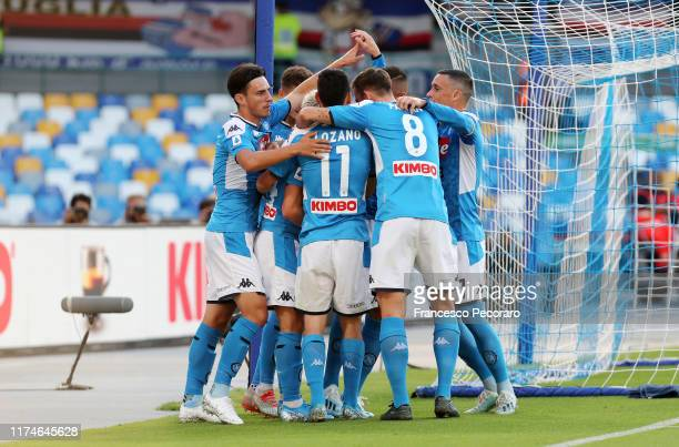 Napoli players celebrate the 10 goal scored by Dries Mertens during the Serie A match between SSC Napoli and UC Sampdoria at Stadio San Paolo on...