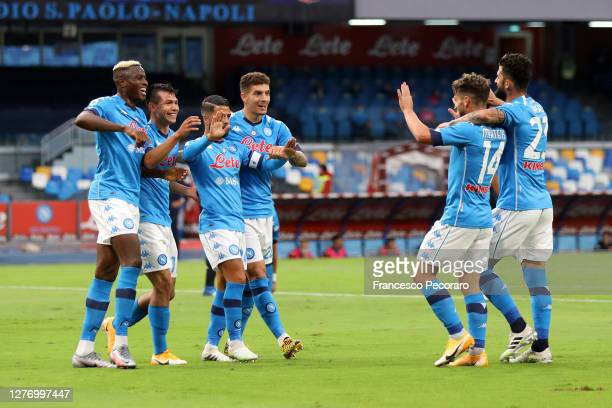 Napoli players celebrate the 1-0 goal scored by Hirving Lozano during the Serie A match between SSC Napoli and Genoa CFC at Stadio San Paolo on...