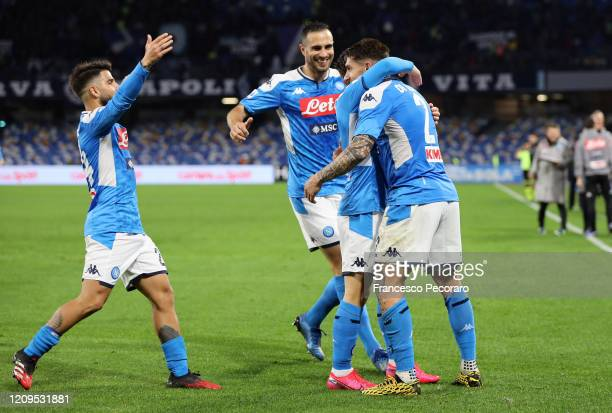 Napoli players celebrate the 20 goal scored by Giovanni Di Lorenzo during the Serie A match between SSC Napoli and Torino FC at Stadio San Paolo on...