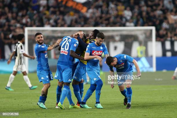 Napoli players celebrate their victory at the end of the Serie A football match between Juventus Fc and Ssc Napoli Ssc Napoli wins 10 over Juventus Fc