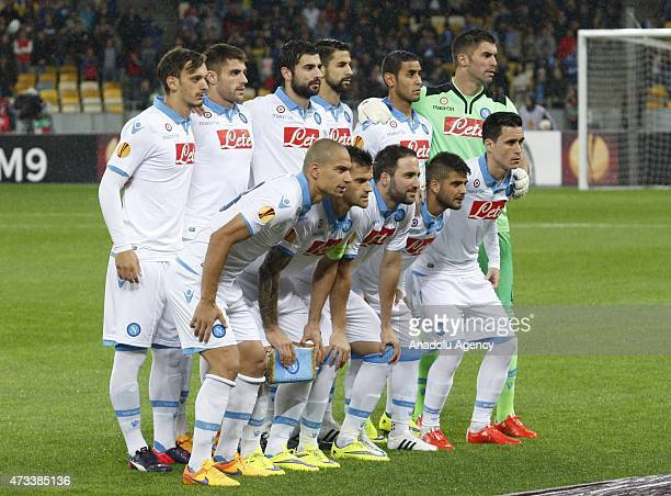 Napoli players pose before the UEFA Europa League Semi Final second leg match between FC Dnipro Dnipropetrovsk and SSC Napoli on May 14 2015 at the...