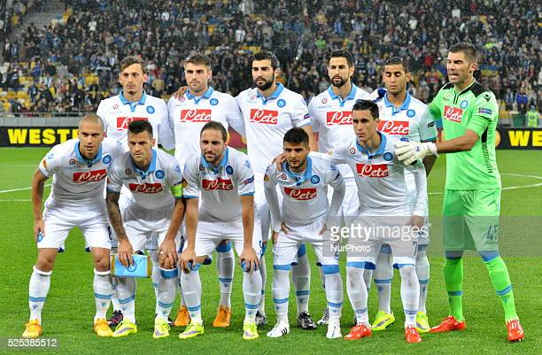 Napoli players pose for a photo before the second leg of the Europa League semifinal between FC Dnipro and Napoli at the Olympic stadium in Kiev...