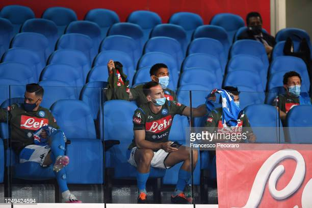 Napoli players sitting on their bench before the Coppa Italia SemiFinal Second Leg match between SSC Napoli and FC Internazionale at Stadio San Paolo...