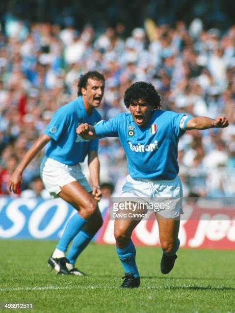 Napoli SSC player Diego Maradona celebrates a goal during an Italian League match between Napoli SSC and AC Milan at San Paolo Stadium in Naples Italy