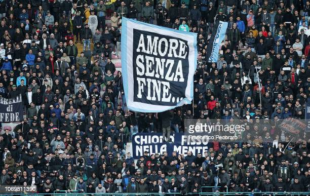 Napoli supporters cheer their team during the Serie A match between SSC Napoli and Frosinone Calcio at Stadio San Paolo on December 8 2018 in Naples...