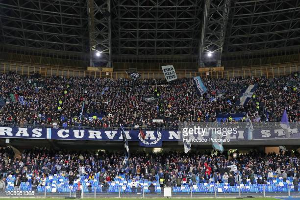 Napoli supporters during the UEFA Champions League round of 16 first leg match between SSC Napoli and FC Barcelona at Stadio San Paolo on February...