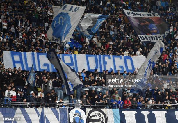 Napoli supporters show a banner celebrating Diego Armando Maradona's birthday during the Serie A match between SSC Napoli and Atalanta BC at Stadio...