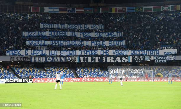 Napoli supporters show banners celebrating Marek Hamsik during the Serie A match between SSC Napoli and Atalanta BC at Stadio San Paolo on October 30...