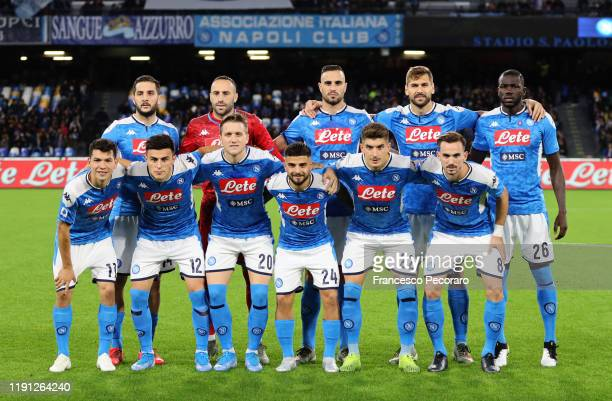 Napoli team before the Serie A match between SSC Napoli and Bologna FC at Stadio San Paolo on December 01 2019 in Naples Italy
