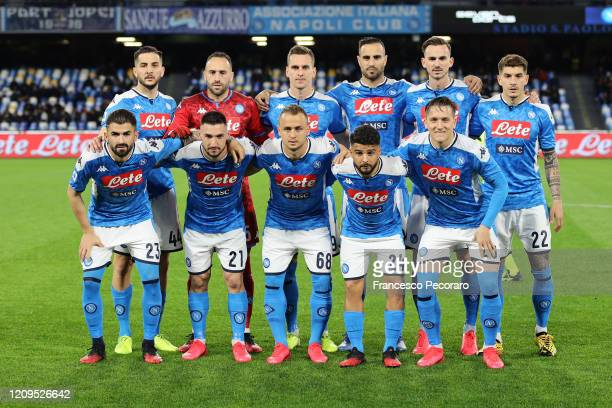 Napoli team before the Serie A match between SSC Napoli and Torino FC at Stadio San Paolo on February 29 2020 in Naples Italy