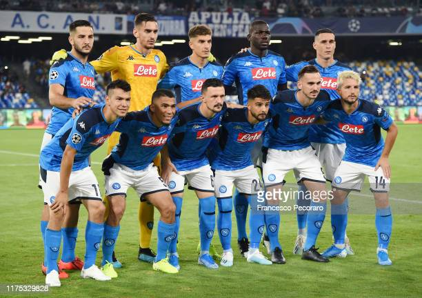 Napoli team before the UEFA Champions League group E match between SSC Napoli and Liverpool FC at Stadio San Paolo on September 17 2019 in Naples...