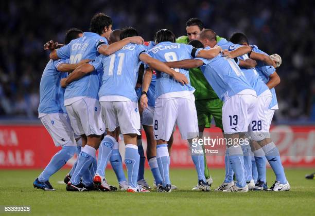Napoli Team celebrate after winning the Serie A match between Napoli and Juventus at the Stadio San Paolo on October 18 2008 in Napoli Italy