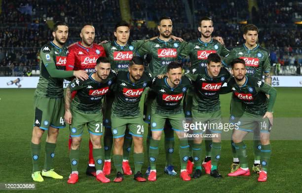 Napoli team line up before the Serie A match between Brescia Calcio and SSC Napoli at Stadio Mario Rigamonti on February 21 2020 in Brescia Italy