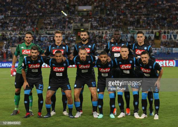 Napoli team poses during the serie A match between SS Lazio and SSC Napoli at Stadio Olimpico on August 18 2018 in Rome Italy