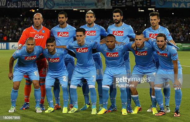 Napoli team poses during the Uefa Champions League Group F match between Napoli and Borussia Dortmund at Stadio San Paolo on September 18 2013 in...