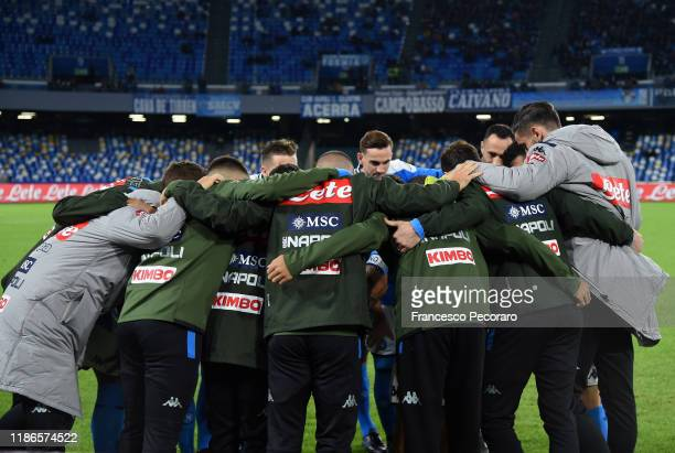 Napoli team together before the Serie A match between SSC Napoli and Genoa CFC at Stadio San Paolo on November 09 2019 in Naples Italy