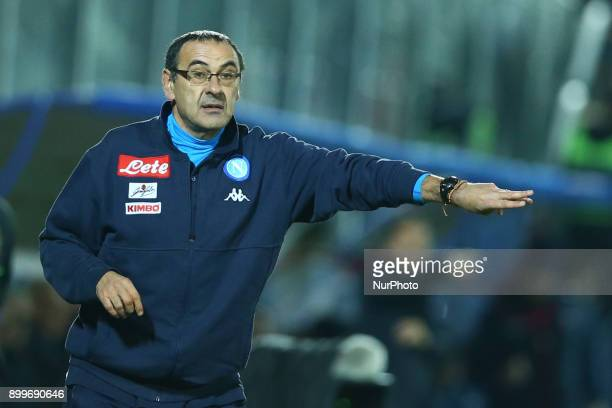 Napoli trainer Maurizio Sarri during the Italian Serie A football match FC Crotone and SSC Napoli on December 29 2017 at the Ezio Scida Stadium in...