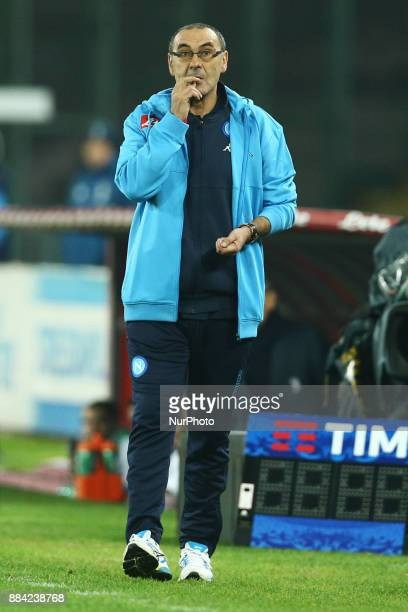 Napoli trainer Maurizio Sarri during the Serie A match between SSC Napoli and Juventus at Stadio San Paolo on December 1 2017 in Naples Italy