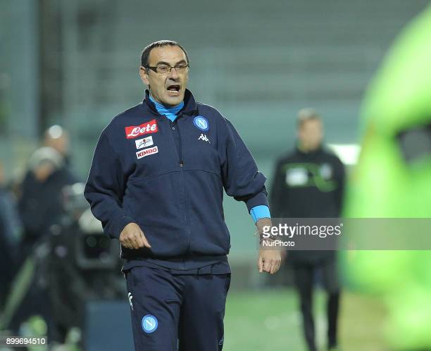 Napoli trainer Maurizio Sarri reacts during the Italian Serie A football match FC Crotone and SSC Napoli on December 29 2017 at the Ezio Scida...