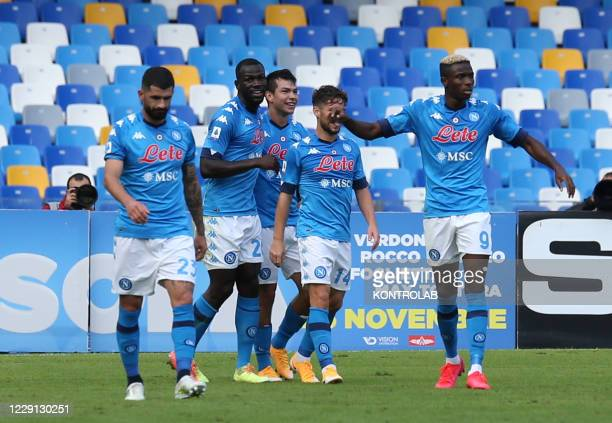 Napoli'a players celebrate their side's first goal during the Serie A football match SSC Napoli vs Atalanta BC. Napoli won 4-1.