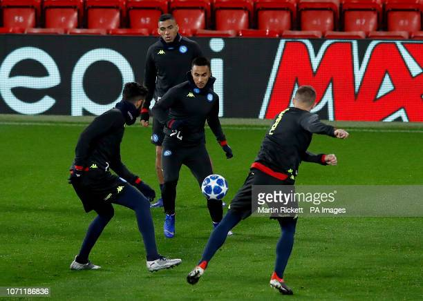 Napoli's Adam Ounas during the training session at Anfield Liverpool