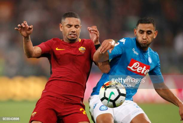 OLIMPICO ROME LAZIO ITALY Napoli's Algerian defender Faouzi Ghoulam fights for the ball with Roma's French midfielder Maxime Gonalons during...