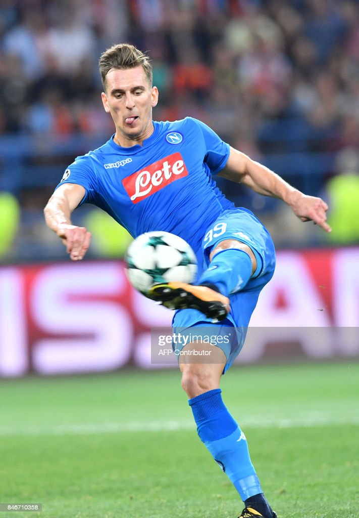 Napoli's Arkadiusz Milik prepares to strike during the UEFA Champions League, Group F, football match FC Shakhtar Donetsk and SSC Napoli at the Metalist stadium in Kharkiv on September 13, 2017. /