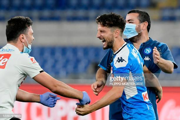 Napoli's Belgian forward Dries Mertens celebrates after Napoli won the TIM Italian Cup final football match Napoli vs Juventus on June 17, 2020 at...