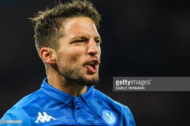 Napoli's Belgian forward Dries Mertens celebrates after opening the scoring during the Italian Serie A football match Napoli vs Genoa on April 7 2019...