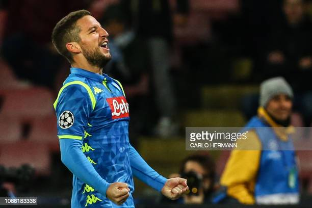 Napoli's Belgian forward Dries Mertens celebrates after scoring 20 during the UEFA Champions League group C football match Napoli vs Red Star...