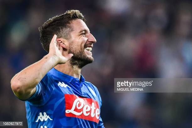 Napoli's Belgian forward Dries Mertens celebrates after scoring during the Italian Serie A football match Udinese vs Napoli on October 20 2018 at the...