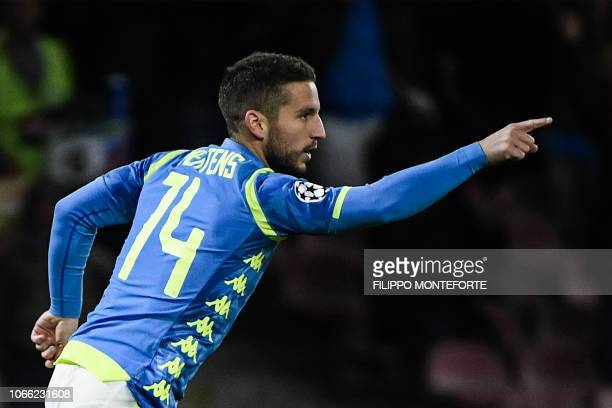 Napoli's Belgian forward Dries Mertens celebrates after scoring during the UEFA Champions League group C football match Napoli vs Red Star Belgrade...