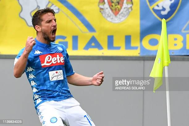 Napoli's Belgian forward Dries Mertens celebrates after scoring during the Italian Serie A football match Frosinone vs Napoli on April 28 2019 at the...