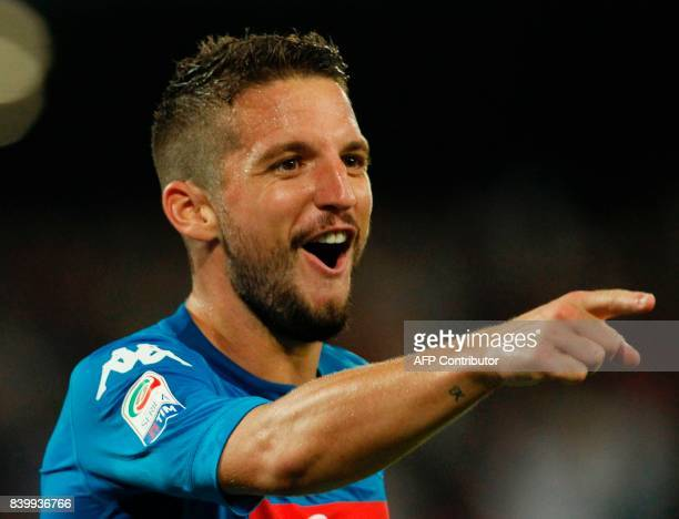 Napoli's Belgian forward Dries Mertens celebrates after scoring during the Italian Serie A football match SSC Napoli vs Atalanta BC on August 27 2017...
