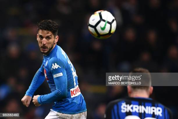 Napoli's Belgian forward Dries Mertens eyes the ball during the Italian Serie A football match Inter Milan vs Napoli on March 11 2018 at the San Siro...