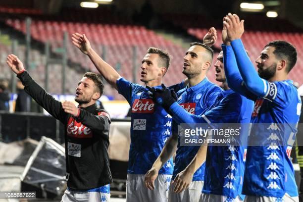 Napoli's Belgian forward Dries Mertens Napoli's Polish forward Arkadiusz Milik Napoli's Serbian defender Nikola Maksimovic Napoli's Spanish...