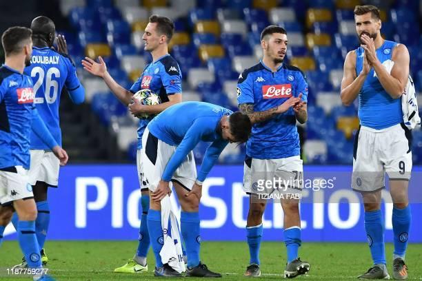 Napoli's Belgian forward Dries Mertens Napoli's Senegalese defender Kalidou Koulibaly Napoli's Polish forward Arkadiusz Milik Napoli's Spanish...