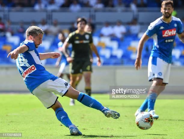 Napoli's Belgian forward Dries Mertens shoots on goal during the Italian Serie A football match Napoli vs Brescia on September 29 2019 at the San...